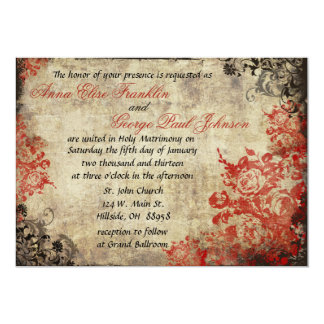 "Red Roses Vintage Wedding Invitation 5"" X 7"" Invitation Card"