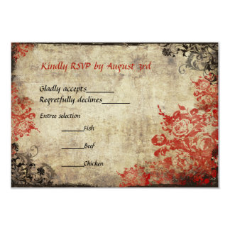 Red Roses Vintage Wedding RSVP Invitation