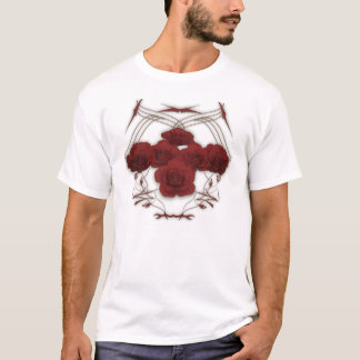 Red Roses W Tribal Pattern - White T-Shirt