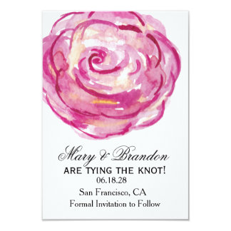 Red Roses Watercolor Floral Wedding Save the Date 9 Cm X 13 Cm Invitation Card