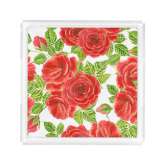 Red roses watercolor seamless pattern acrylic tray