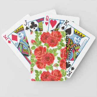 Red roses watercolor seamless pattern bicycle playing cards
