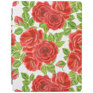 Red roses watercolor seamless pattern iPad cover