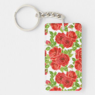 Red roses watercolor seamless pattern key ring