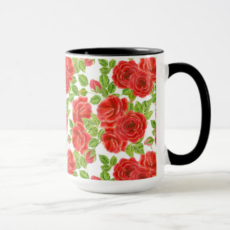 Red roses watercolor seamless pattern mug