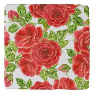 Red roses watercolor seamless pattern trivet