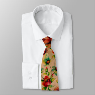 Red Roses Watercolors On Blond Wood Pattern Tie