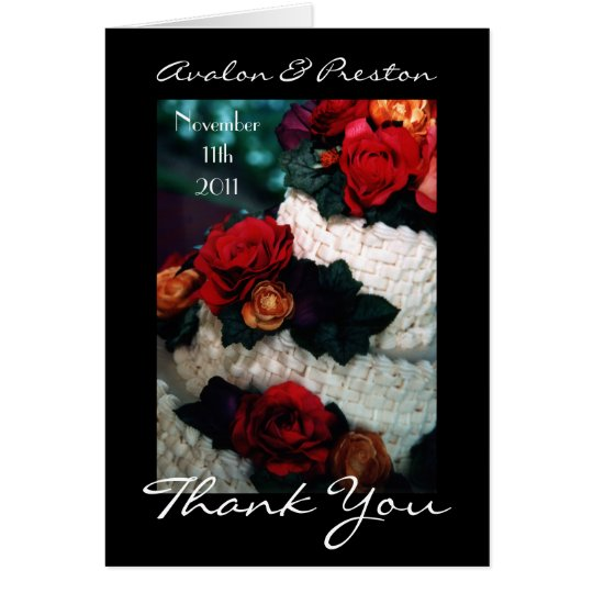 Red Roses Wedding Cake Thank You Note Card