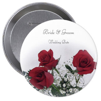 Red Roses Wedding Favor 10 Cm Round Badge