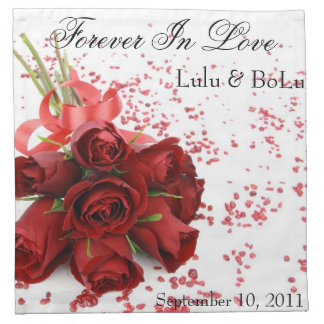 Red Roses Wedding Napkin