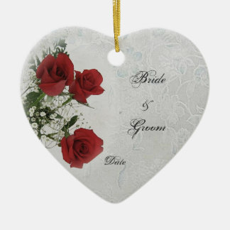 Red Roses Wedding Photo Frame Ceramic Heart Decoration
