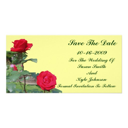 Red Roses Wedding Save The Date Photo Card