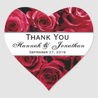 Red Roses Wedding Thank You Bride Groom Heart Sticker