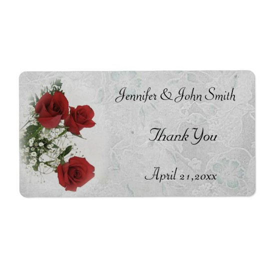 Red Roses Wedding Thank You Shipping Label