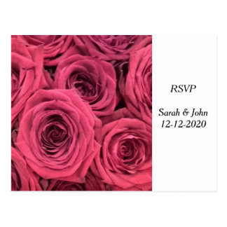Red roses wedding theme RSVP card Postcard