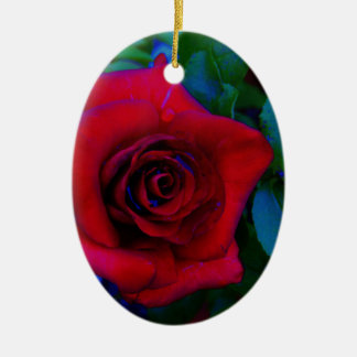 Red Roses with blue tones Christmas Tree Ornament