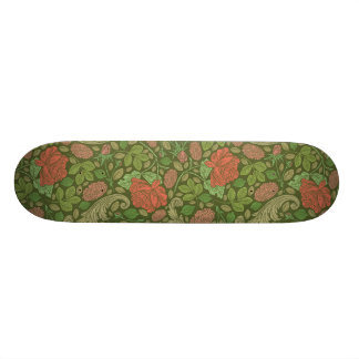 Red roses with green leaves on green background skateboard deck