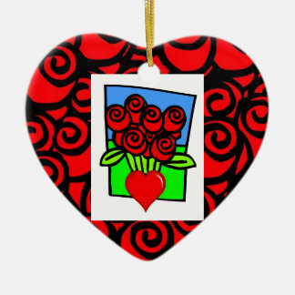 Red  Roses with Heart Christmas Ornament
