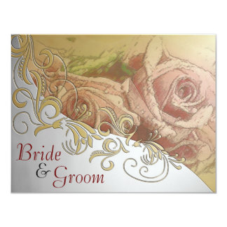 Red Roses with Silver & Gold - Flat 2 sided Invite