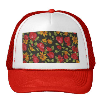 Red Roses Yellow Daisies Hat
