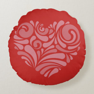 Red Round cushion with Print of Heart