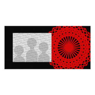 Red Round Lace Pattern Graphic. Photo Greeting Card