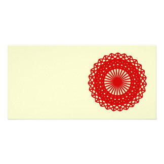 Red Round Lace Pattern Graphic. Custom Photo Card