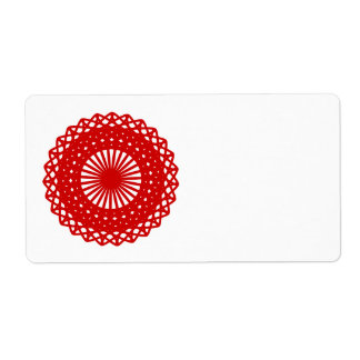 Red Round Lace Pattern Graphic. Shipping Label