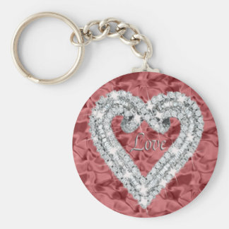 Red Round Love Diamond Heart Keychain