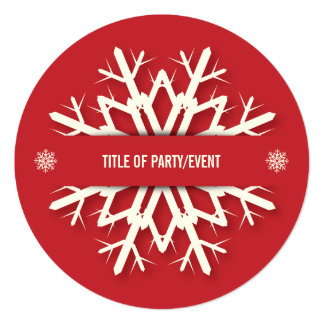 Red Round Modern Snowflake Christmas Party 13 Cm X 13 Cm Square Invitation Card