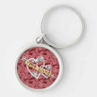 Red Round True Love Joined Hearts Keychain