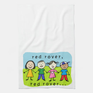 Red rover kids tea towel