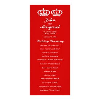 Red Royal Couple Wedding Program Rack Card
