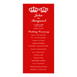Red Royal Couple Wedding Program Rack Card Template