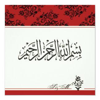 "Red royal Islamic nikkah wedding engagement Muslim 5.25"" Square Invitation Card"