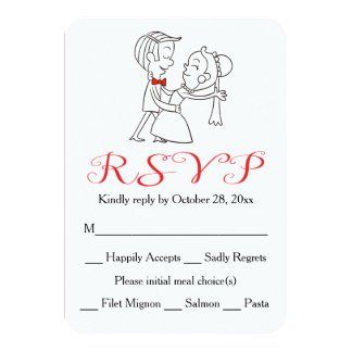 Red RSVP Bride & Groom Black And White Wedding 9 Cm X 13 Cm Invitation Card