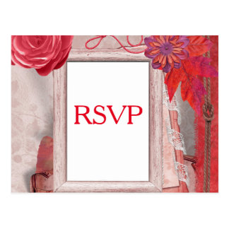 Red RSVP Flower and Picture Frame Postcard