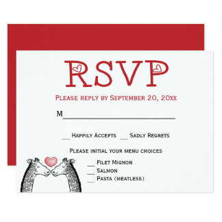 Red RSVP Giraffe Burgundy Wedding Engagement Card