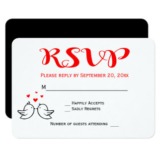 Red RSVP Lovebirds Black Wedding Engagement Hearts Card
