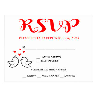 Red RSVP Lovebirds Black Wedding Party Birds Postcard