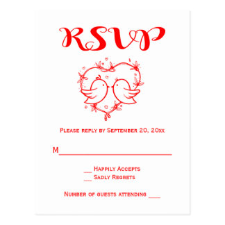 Red RSVP Lovebirds Hearts Wedding Party Birds Postcard