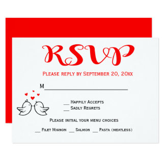 Red RSVP Lovebirds Wedding Engagement Hearts Birds Card