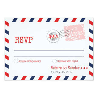 Red RSVP Postal Service Collection 9 Cm X 13 Cm Invitation Card