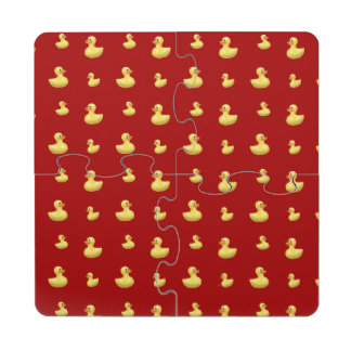 Red rubber duck pattern puzzle coaster