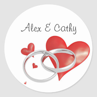Red Rubber Heart with Silver Rings Stickers