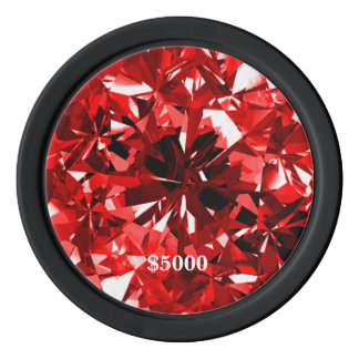 Red Ruby Gem Stone Clay Poker Chip Plain Edge