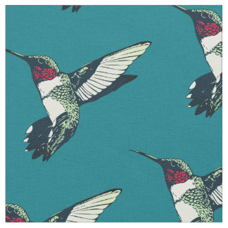 Red ruby throated hummingbird anchor Fabric teal