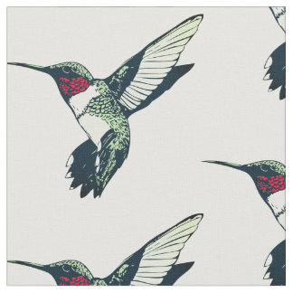 Red ruby throated hummingbird Fabric