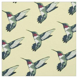 Red ruby throated hummingbird Fabric yellow