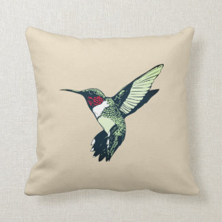 red ruby throated hummingbird throw pillow